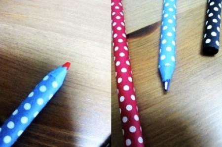 ジブング研究所 「鉛筆作れるんだぜぇ~ワイルドだろぅ~」で作った、赤青鉛筆を削ってみました