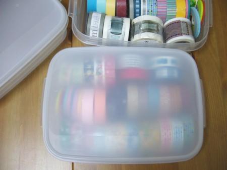 マスキングテープ保存用のお餅保存ケース/立てて保管するので上からも柄が見えます